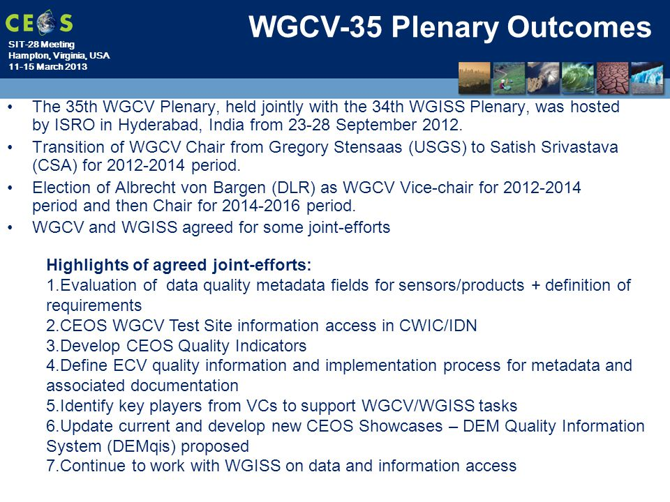 WGCV-35 Plenary Outcomes