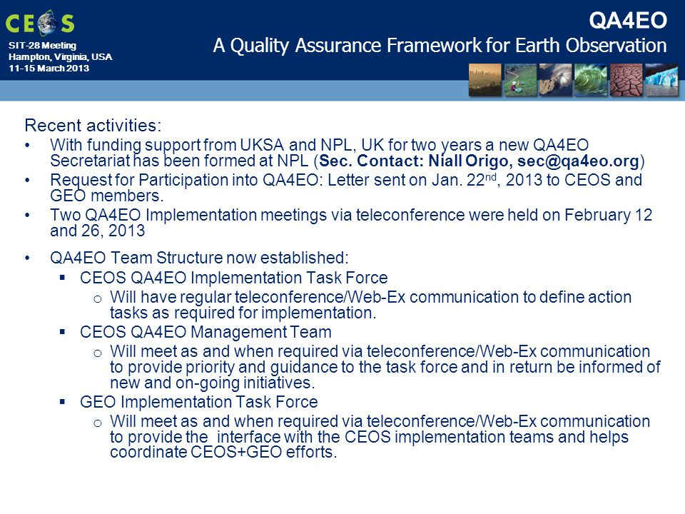 QA4EO A Quality Assurance Framework for Earth Observation