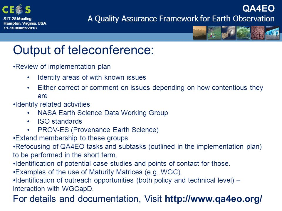 Output of teleconference: