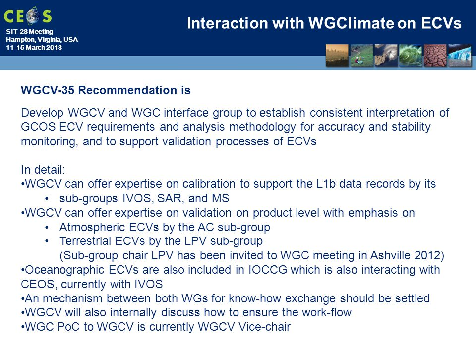 Interaction with WGClimate on ECVs