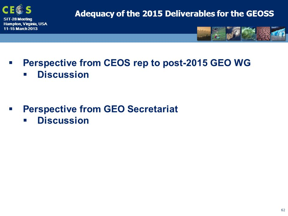 Perspective from CEOS rep to post-2015 GEO WG Discussion