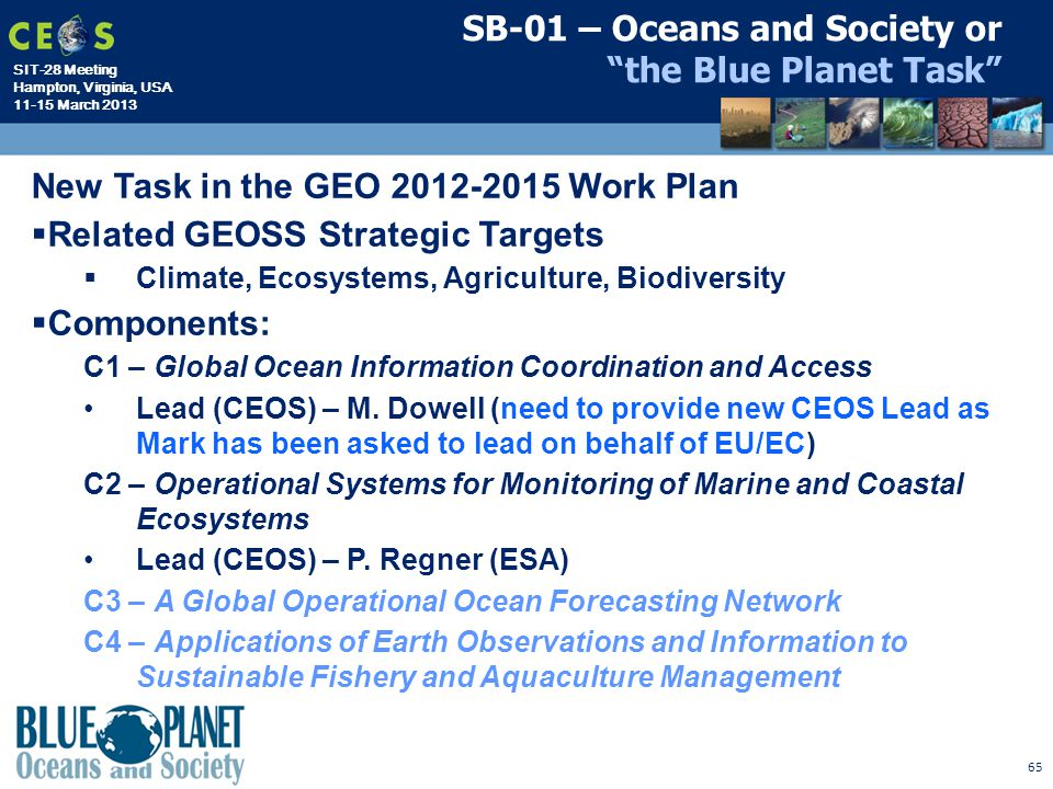 SB-01 – Oceans and Society or the Blue Planet Task