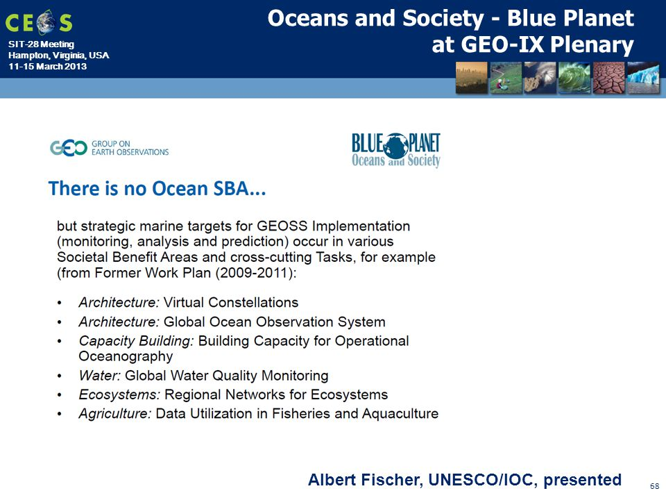 Oceans and Society - Blue Planet at GEO-IX Plenary