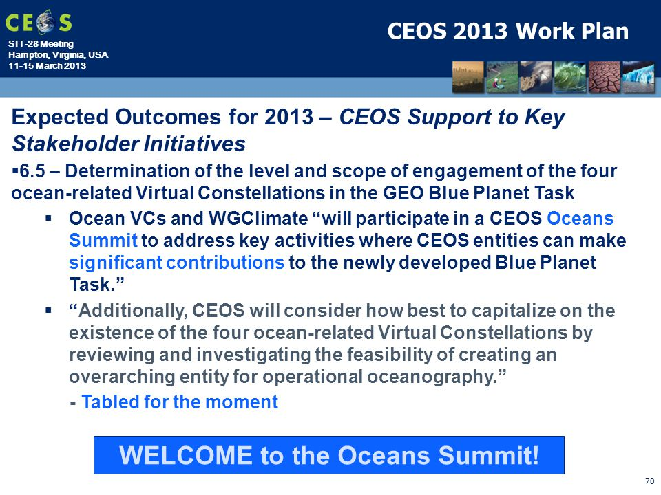 WELCOME to the Oceans Summit!