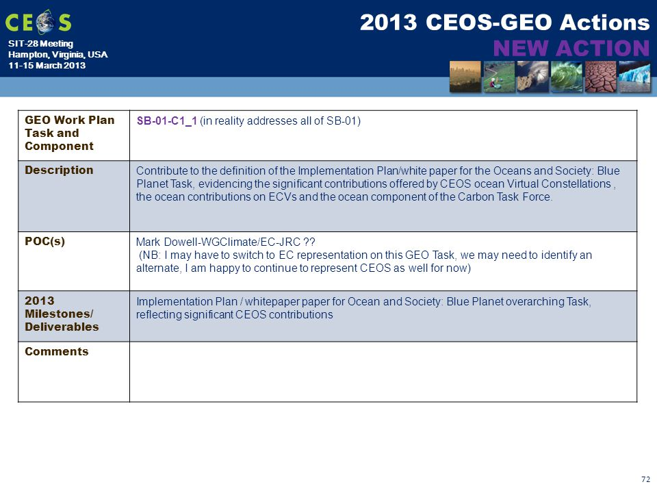 2013 CEOS-GEO Actions NEW ACTION