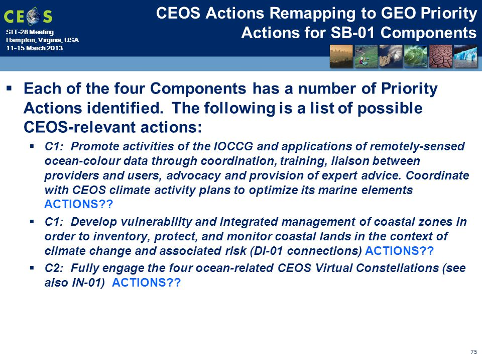 CEOS Actions Remapping to GEO Priority Actions for SB-01 Components