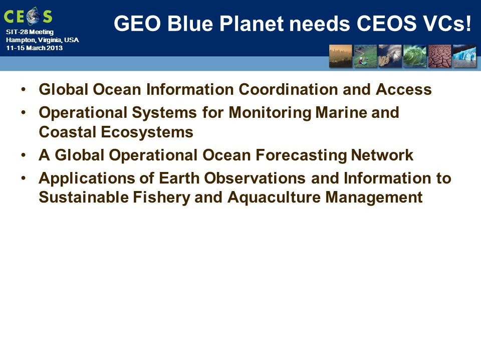 GEO Blue Planet needs CEOS VCs!