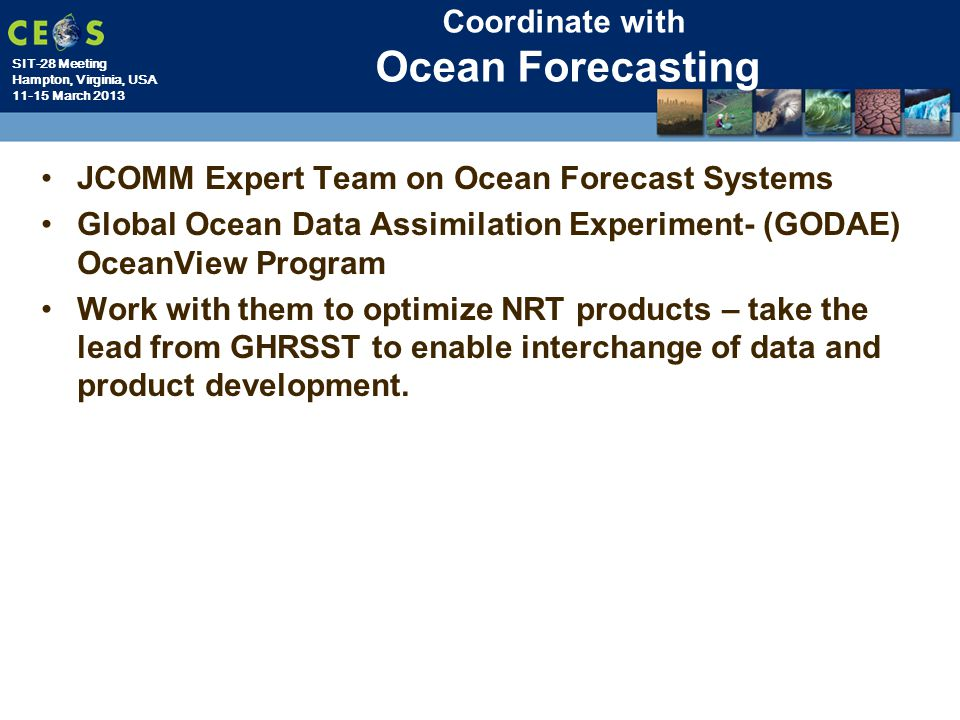 Coordinate with Ocean Forecasting