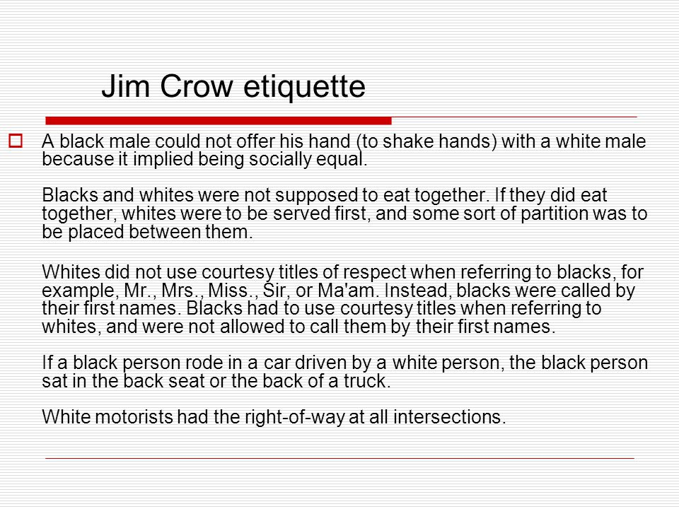 Jim Crow etiquette