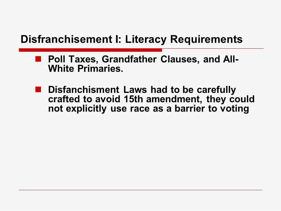 Disfranchisement I: Literacy Requirements