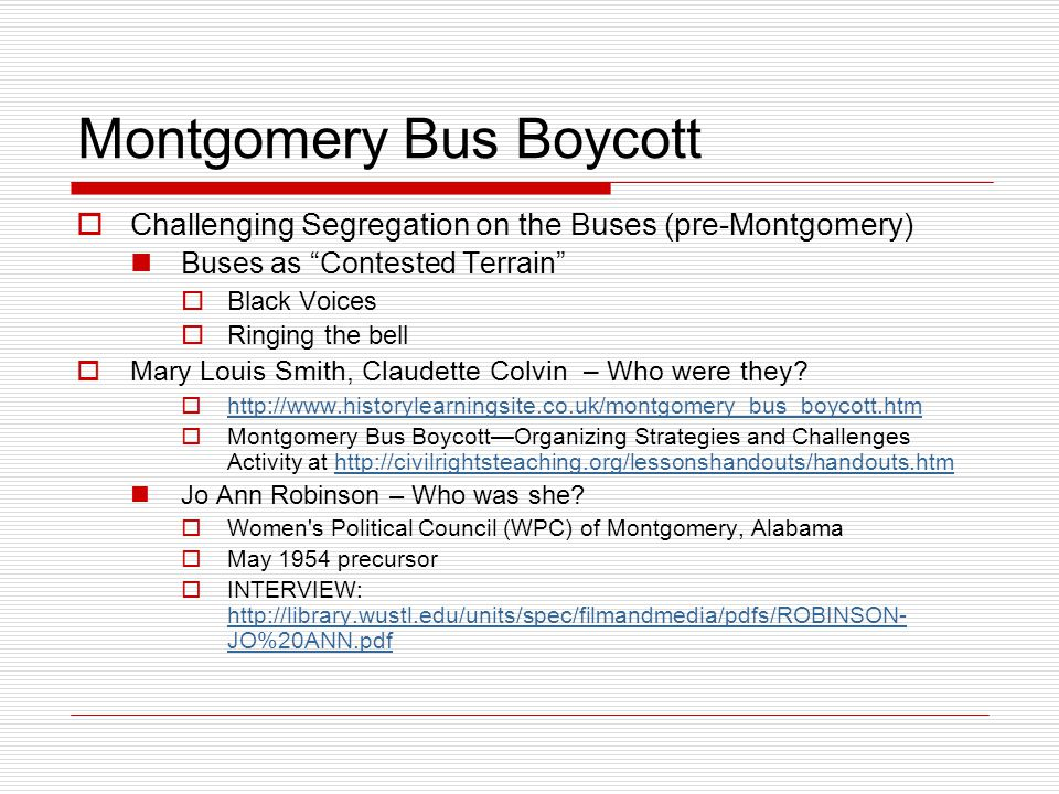 montgomery bus boycott essay questions In the 1950s, the montgomery bus boycott happened during that time segregation was happening in some places like montgomery, alabama there was a bus segregation which means white people sit on the front seats and black people sit at the back seats.