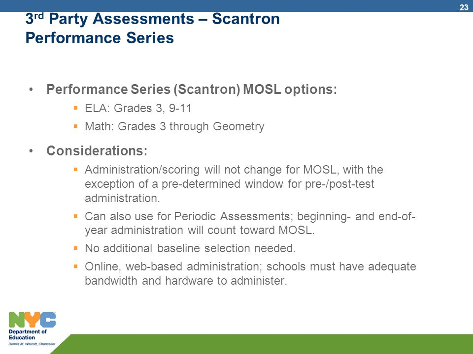 3rd Party Assessments – Scantron Performance Series