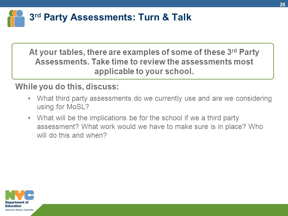 3rd Party Assessments: Turn & Talk