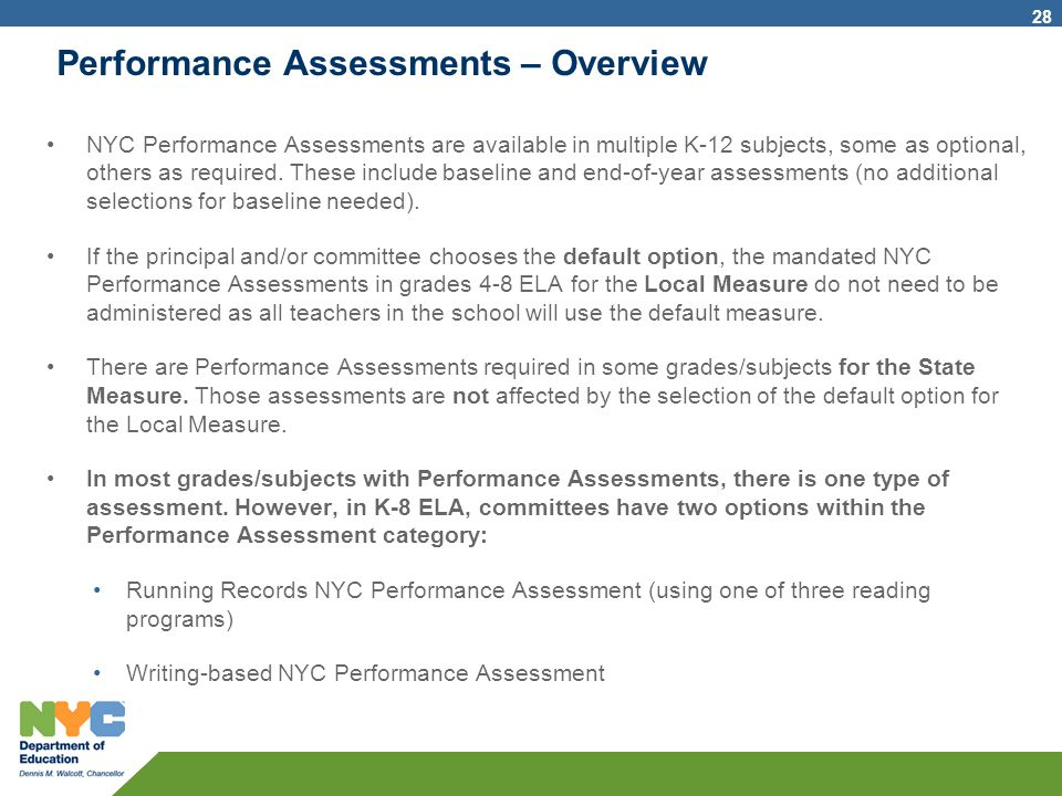 Performance Assessments – Overview