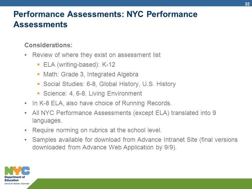 Performance Assessments: NYC Performance Assessments