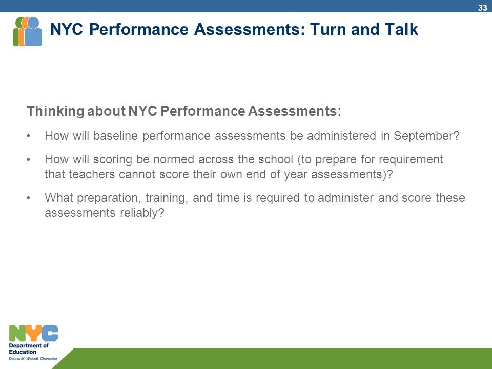 NYC Performance Assessments: Turn and Talk