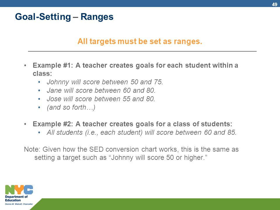 All targets must be set as ranges.