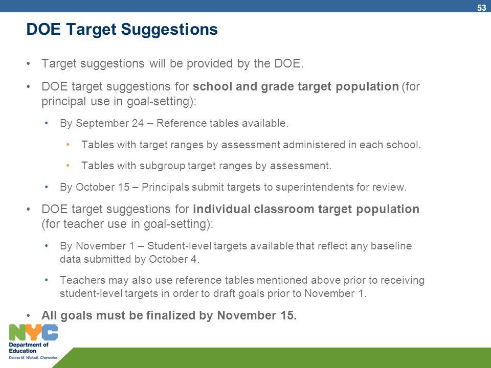 DOE Target Suggestions