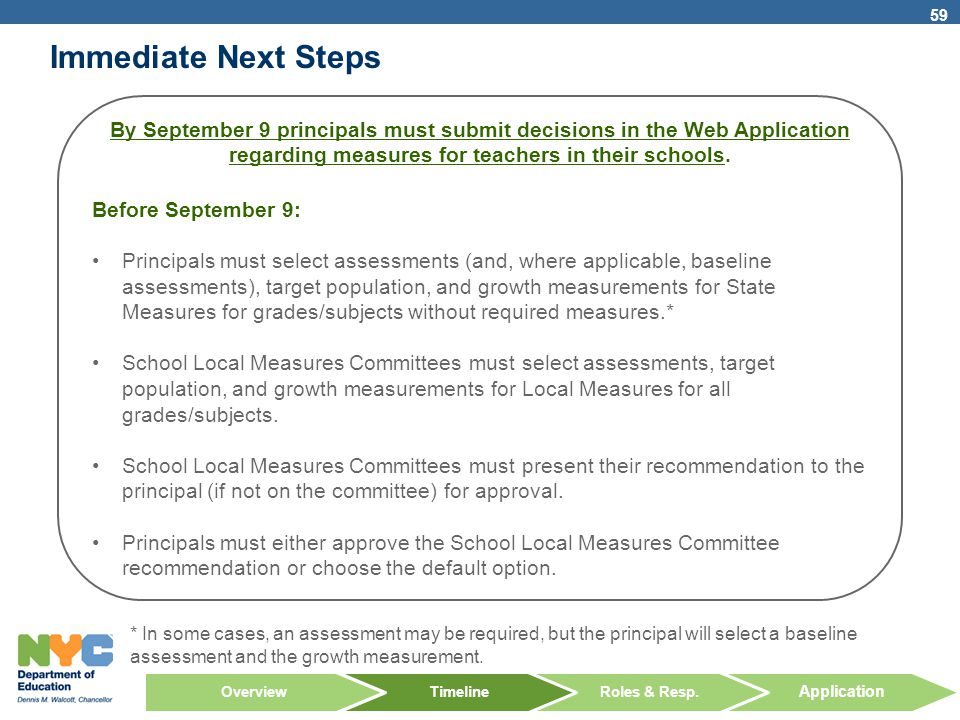 Immediate Next Steps By September 9 principals must submit decisions in the Web Application regarding measures for teachers in their schools.