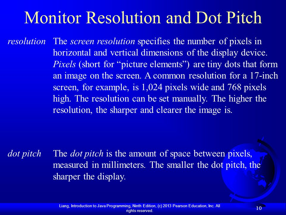 Monitor Resolution and Dot Pitch