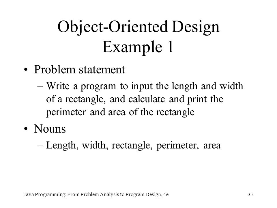 Object-Oriented Design Example 1