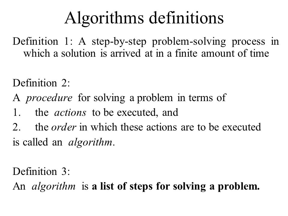 Algorithms definitions