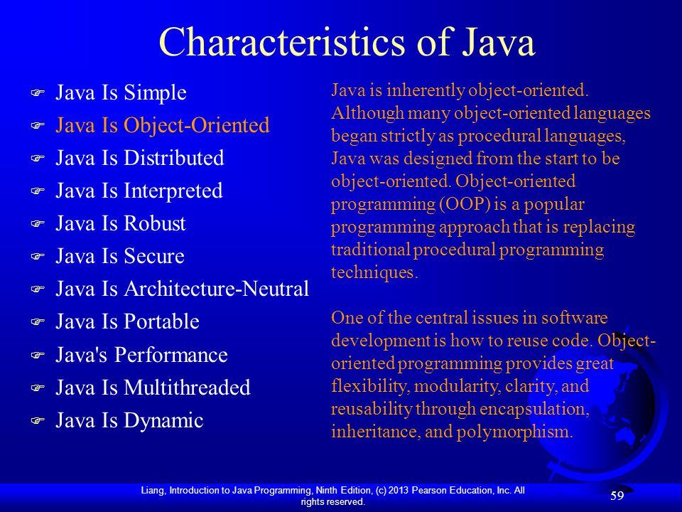 Characteristics of Java