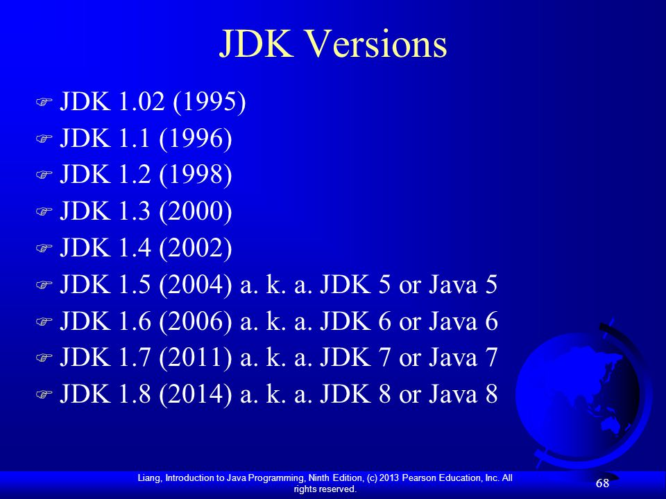 JDK Versions JDK 1.02 (1995) JDK 1.1 (1996) JDK 1.2 (1998)