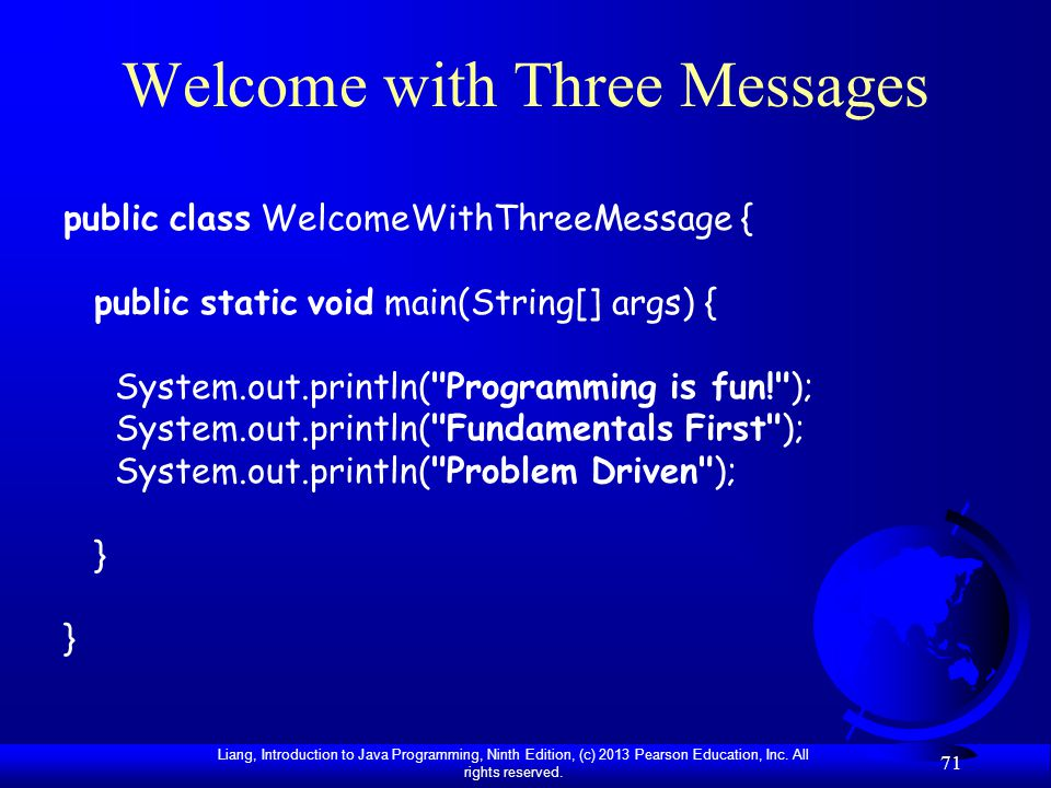 Welcome with Three Messages