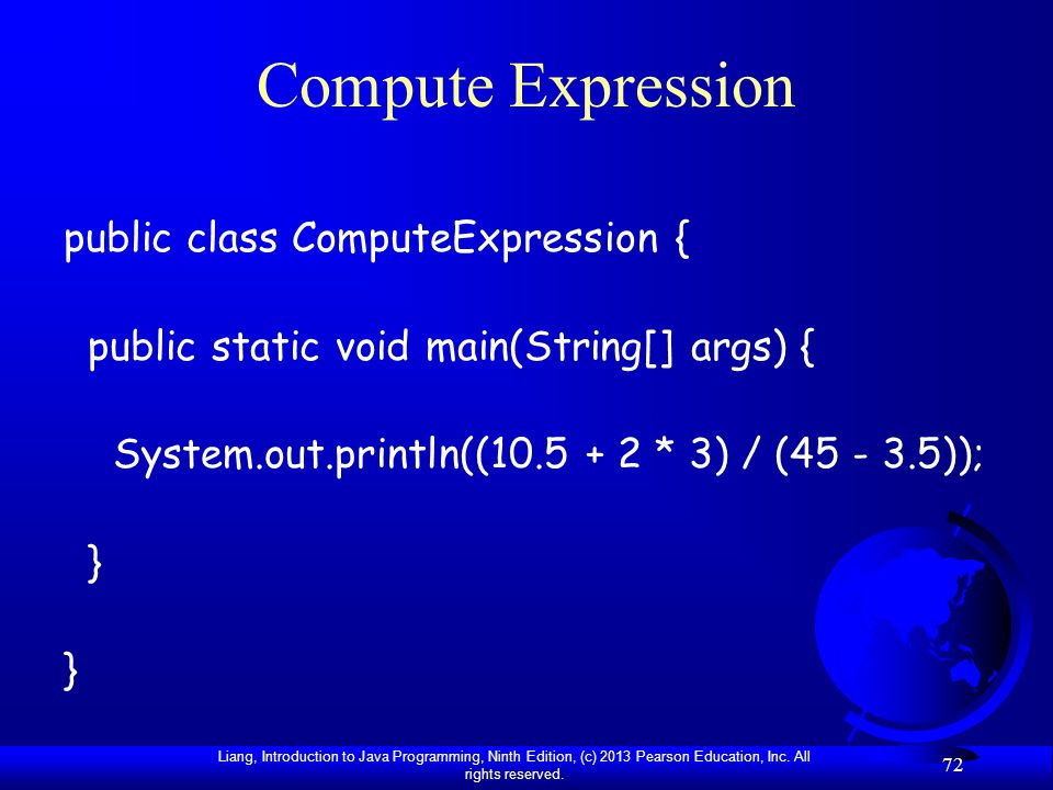 Compute Expression public class ComputeExpression {