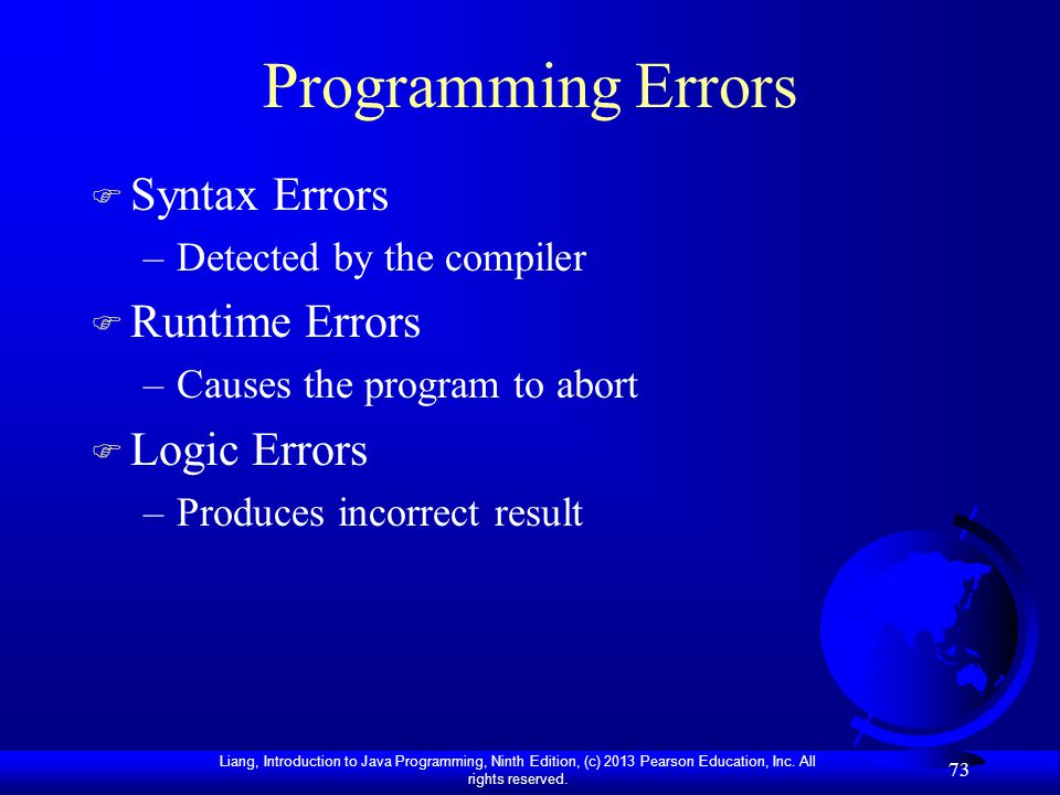 Programming Errors Syntax Errors Runtime Errors Logic Errors