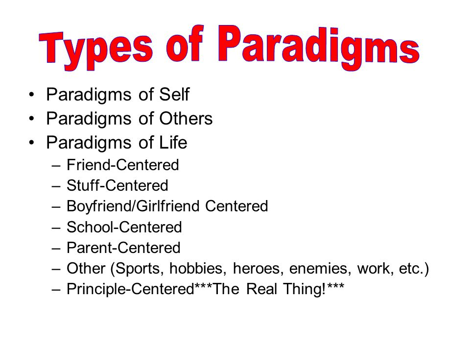 Types of Paradigms Paradigms of Self Paradigms of Others