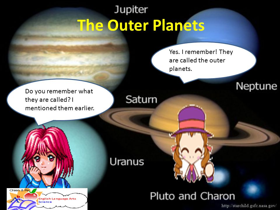 The Outer Planets Yes. I remember! They are called the outer planets.