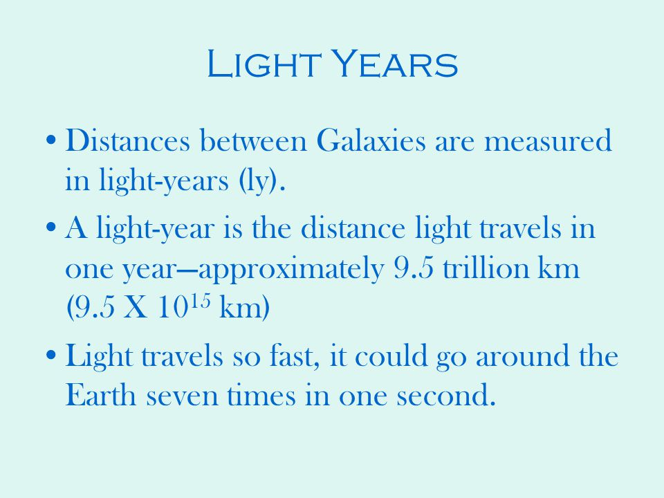 Light Years Distances between Galaxies are measured in light-years (ly).