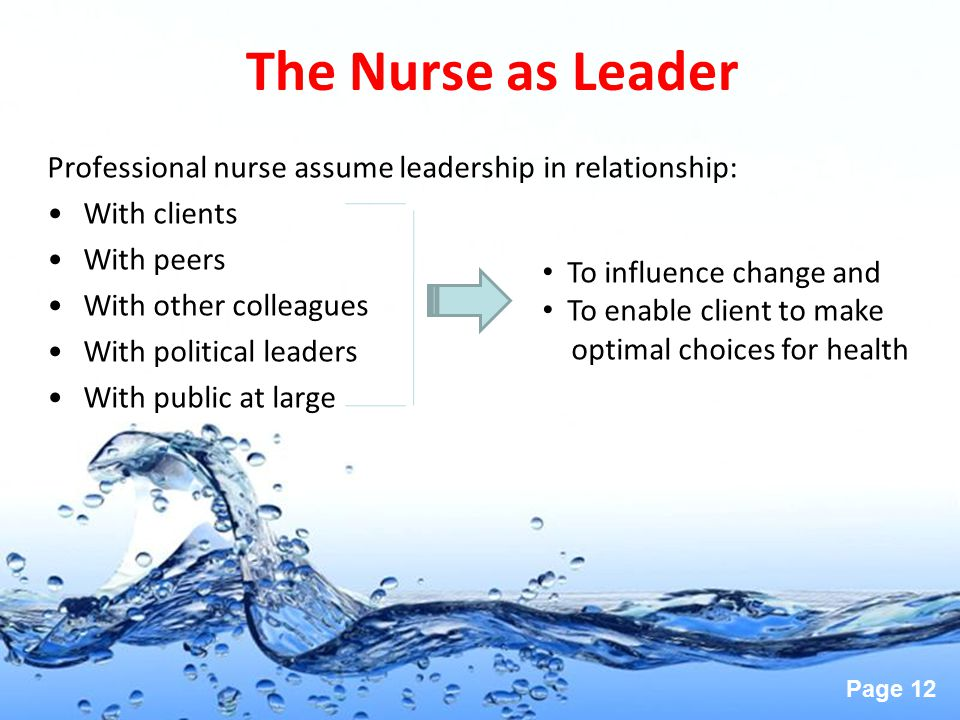 The Nurse as Leader Professional nurse assume leadership in relationship: With clients. With peers.