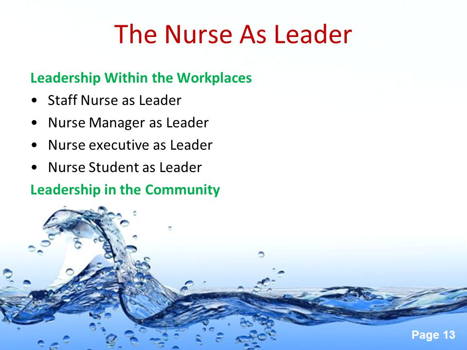 The Nurse As Leader Leadership Within the Workplaces