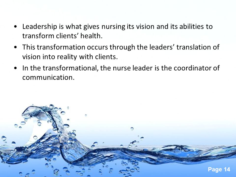 Leadership is what gives nursing its vision and its abilities to transform clients' health.