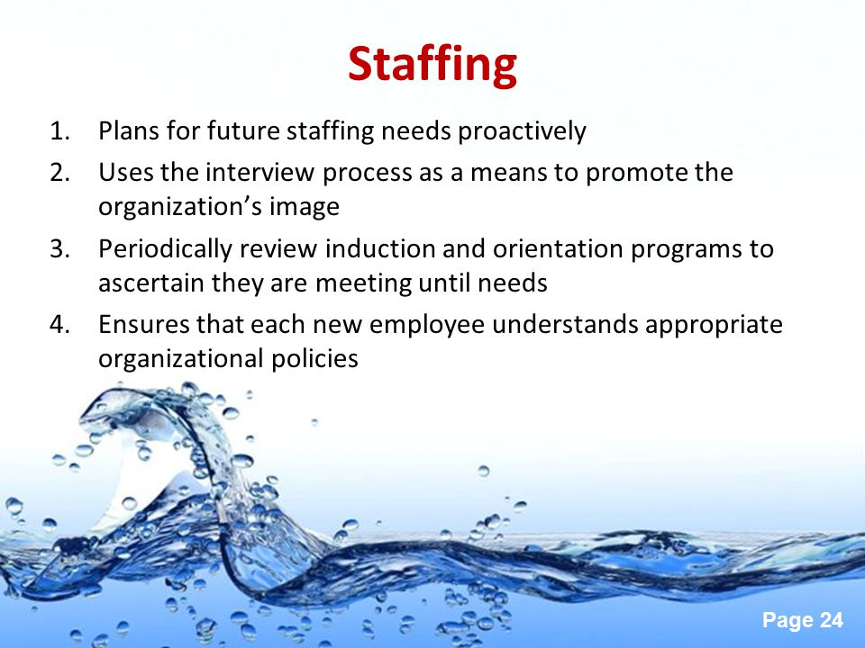 Staffing Plans for future staffing needs proactively