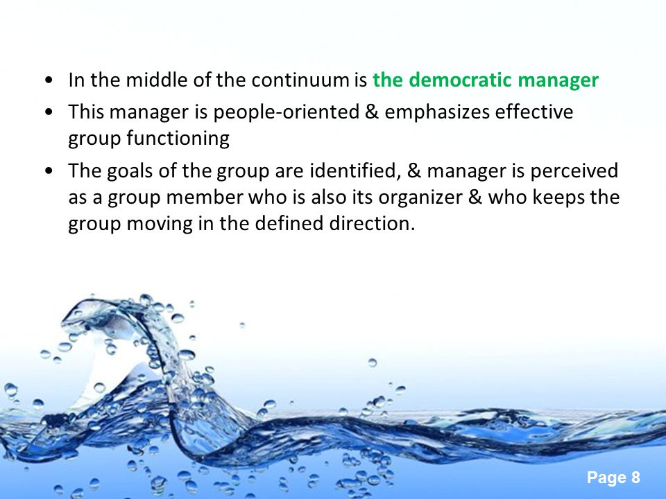 In the middle of the continuum is the democratic manager