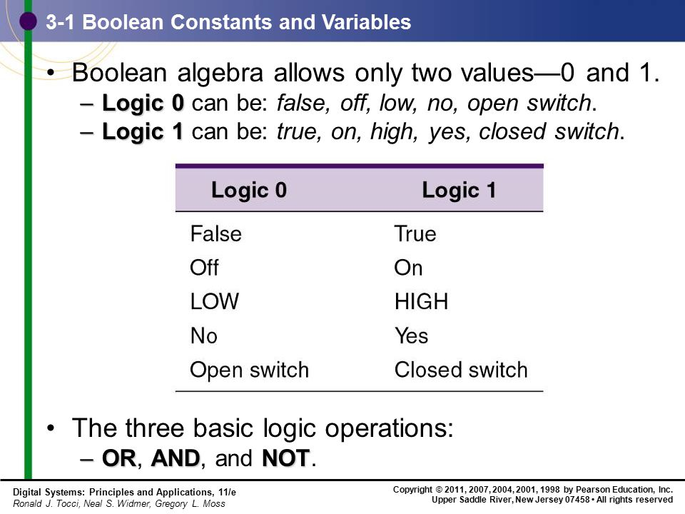 3-1 Boolean Constants and Variables