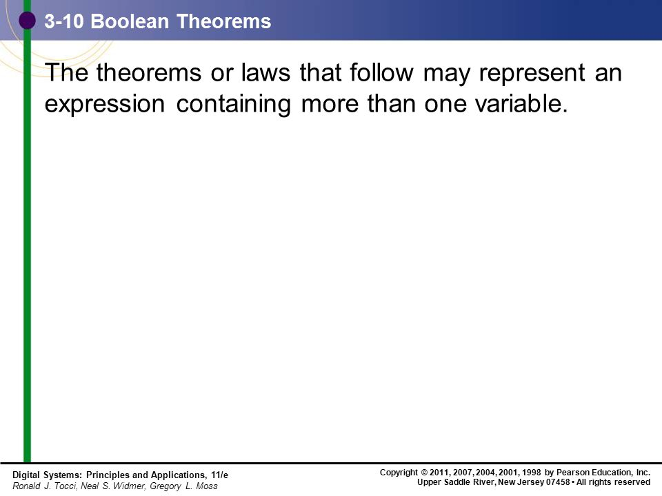 3-10 Boolean Theorems The theorems or laws that follow may represent an expression containing more than one variable.