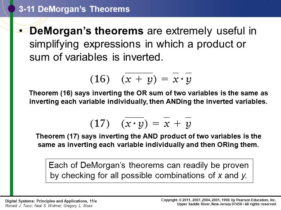 3-11 DeMorgan's Theorems DeMorgan's theorems are extremely useful in simplifying expressions in which a product or sum of variables is inverted.
