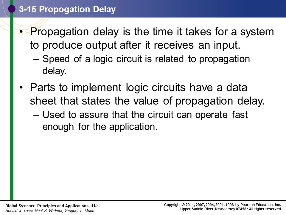 3-15 Propogation Delay Propagation delay is the time it takes for a system to produce output after it receives an input.