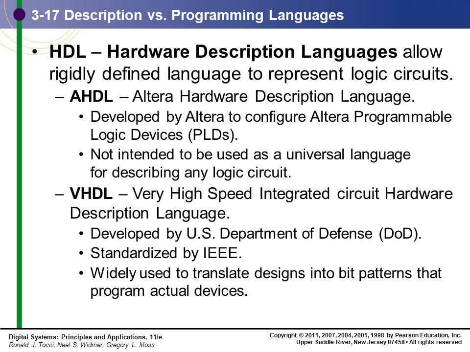 3-17 Description vs. Programming Languages