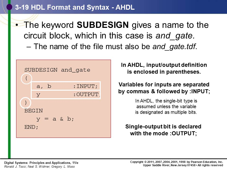3-19 HDL Format and Syntax - AHDL