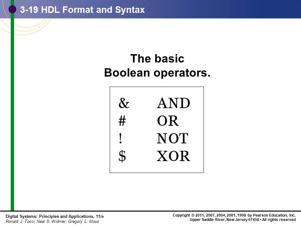 The basic Boolean operators.