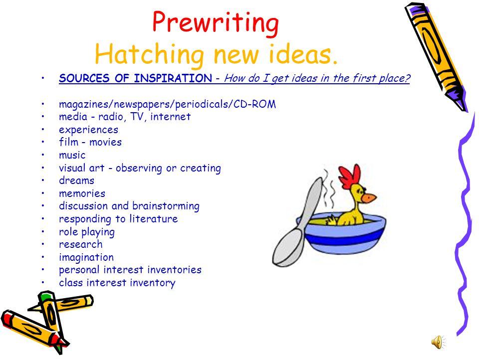 Prewriting Hatching new ideas.