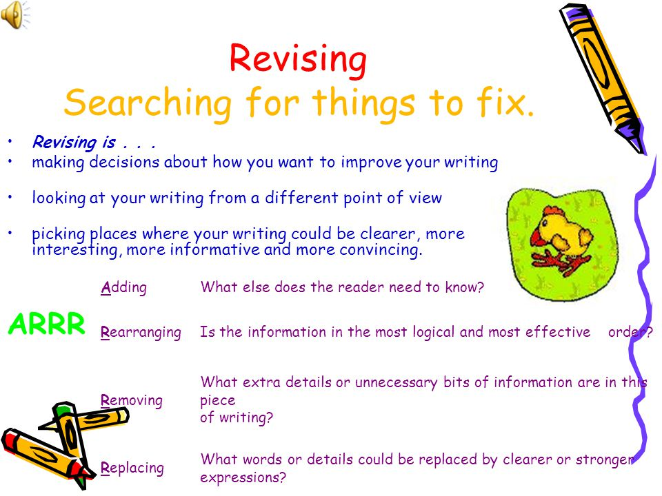 Revising Searching for things to fix.