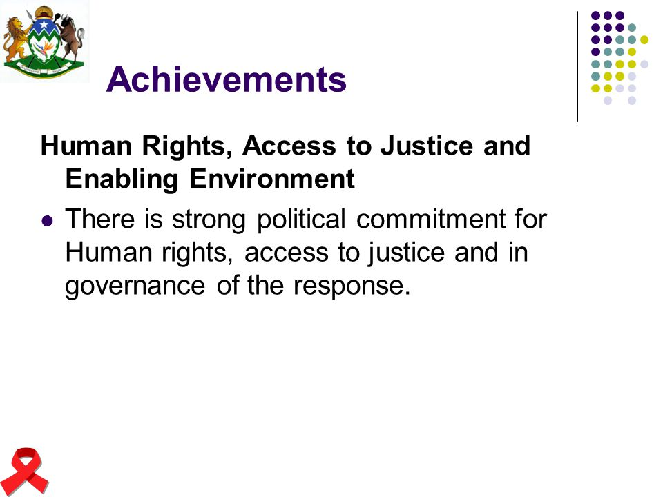 Achievements Human Rights, Access to Justice and Enabling Environment