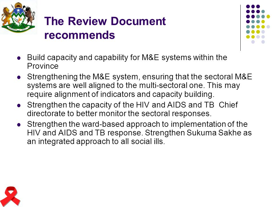 The Review Document recommends